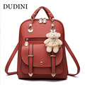 DUDINI Women's Backpacks High Quality PU Leather Waterproof Backpack Fahion Casual Backpack Girls Solid School Backpack