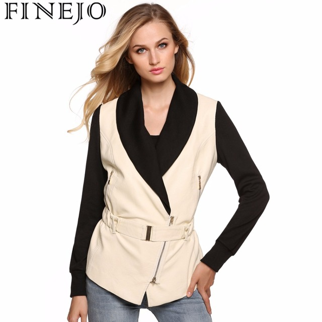 Finejo Women Fashion Shawl Collar Zip-up Slim Fit White Black Patchwork PU  Leather Jacket with Belt S-XXL 89a263a7357d
