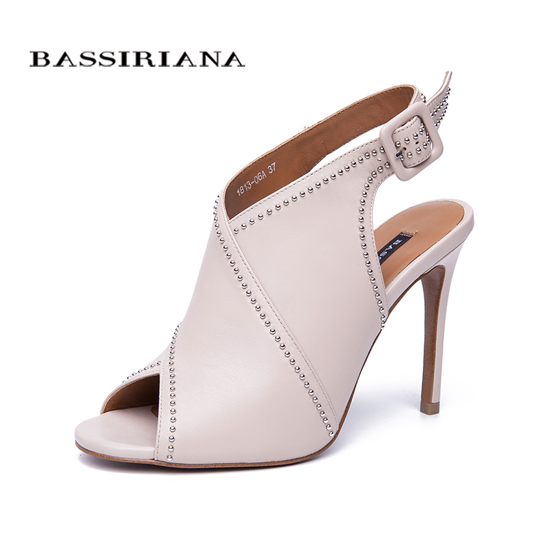 BASSIRIANA new super high thin heels sexy Sandals Women gladiator Genuine leather rivet back strap summer