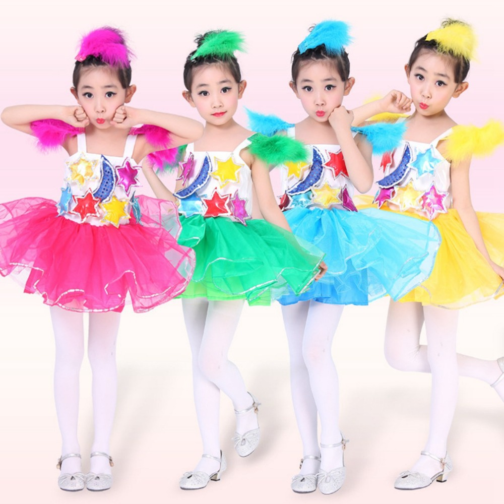 Mond Sterne Kleid: Mädchen Kinder Kinder Kostüme Leistung Mond Sterne Feder