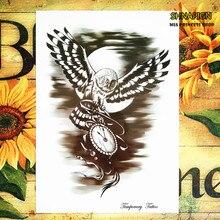 Black Owl Clock Temporary Tattoo Body Art Flash Tattoo Stickers 12*20cm Waterproof Henna Tatoo Styling Home Decor Wall Sticker