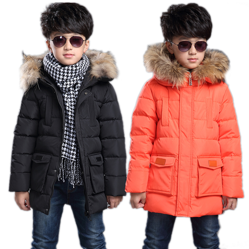 children parka 2017 medium long big boy winter white duck down down jackets solid wool collar hooded children winter jacket boy платье для девочек party dresses for girls baby 2 11 casual girl dress