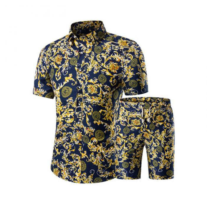 904e00eedf4 Summer Men Printed T-shirt + Shorts Decorative Pattern Two Piece Sets Plus  Size H9