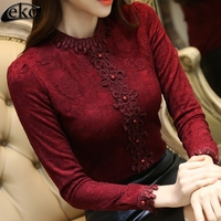 Korean Lace Shirt For Women Blouse Slim Thick Velvet Ladies Blouse Autumn Winter Blouses Female Elegant