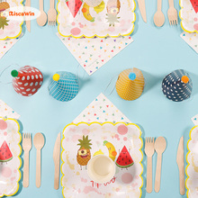 RiscaWin Summer Fruit Paper Plates Cups Disposable Tableware Birthday Wedding Party Supplies Dessert Plates For Baby Shower Kids