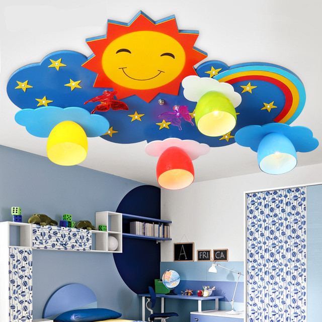 Kids ceiling lighting children s bedroom lamps and lanterns creative  cartoon LED eye protection rainbow sun smile