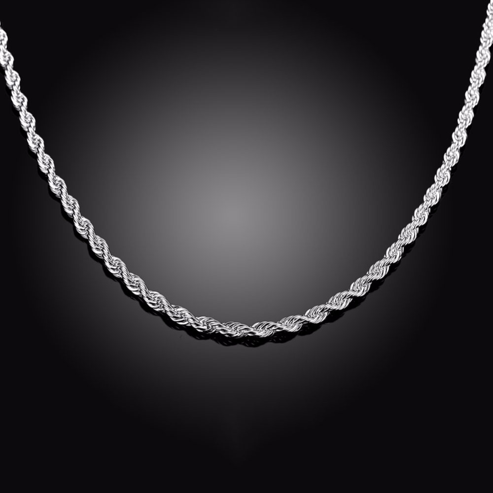 silver graduated necklace twisted sterling hollow itm chain chains rope g