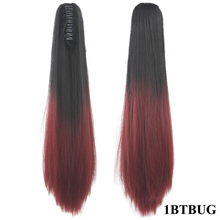 Straight Synthetic Clip In Hair Extension Red Pink Claw Ponytail Hairpieces