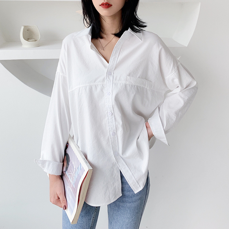 Vests Q1224 Attractive Appearance Provided Harajuku Long Sleeve Shirt Blouse Women Clothes Casual Ladies Tops And Blouses Streetwear White Shirt Women Blouse Women's Clothing