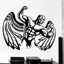 Gym Sticker Fitness Decal Bodybuilding Wing Posters Name Muscle Vinyl Wall Parede Decor 19 Color Choose Gym Sticker