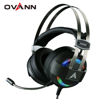 Ovann X300 Computer Gaming Headphones Over Ear Game Headset Shock Deep Bass With Mic Breathing LED