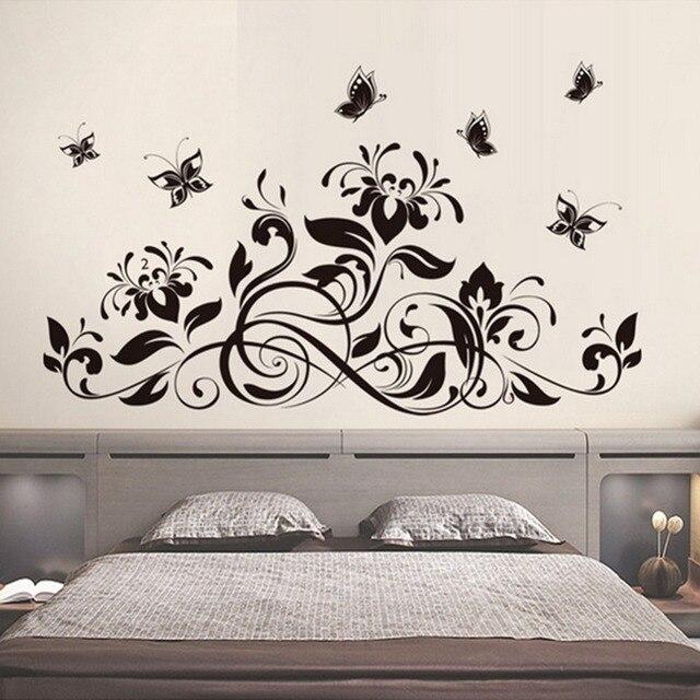 black flowers vines butterflies wall decal home sticker paper