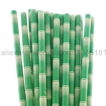 2000pcs Green Bamboo Paper Straws Panda Theme Safari Themed Birthday Party Supplies Disposable Drinking Straws
