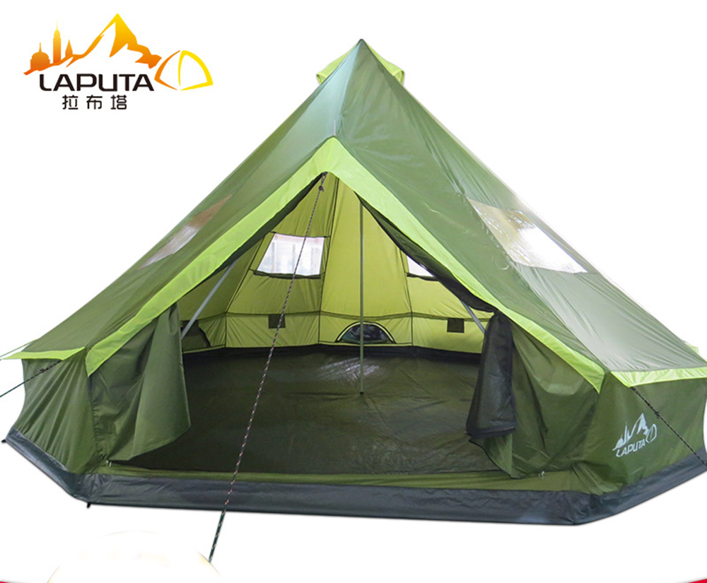 LAPUTA Ultralarge 8 12 Person 500CM*500CM Waterproof Camping Party Family Tent Large Gazebo Sun Shelter