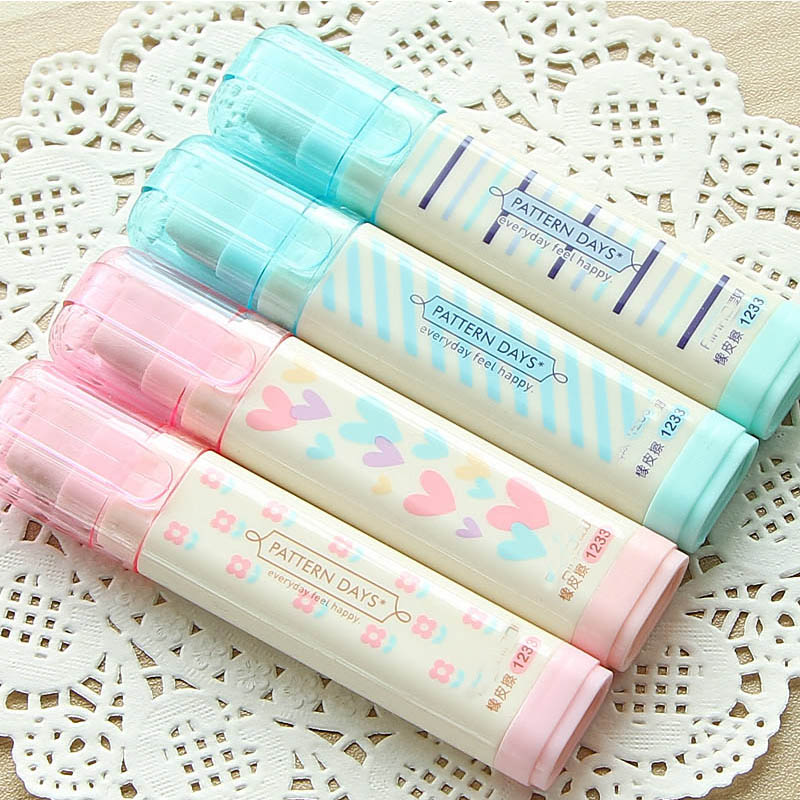 Kawaii Replaceable Flower Rubber Eraser Lovely Heart Stripe Erasers Pencil For Kids Students Gift Cute Stationery Office School
