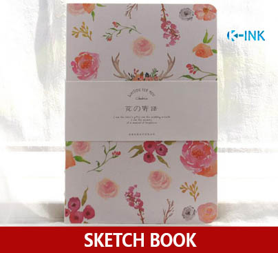 80 Sheets A5 Blank Hard Cover Sketch Book , Flower Series Sketchbook for Drawing as Notebook