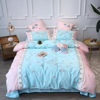 Luxury Egypt Cotton Fantasy Sky Bedding Set Embroidery Stars clouds Duvet Cover Bed Sheet Pillowcases Queen King Size 4/6/7Pcs