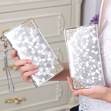 wholesale long clutch wallet fashion silver patent leather stone pattern PU Leather purse money Bag Coins Holder elegant DL1944