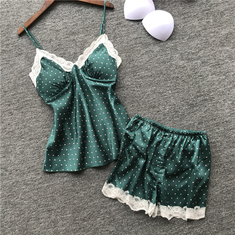 2019 New Lace Solid Color Summer Pyjama Nightsuits   Pajamas   for Women   Pajamas     Sets   with Shorts Sexy Satin with Chest Pad