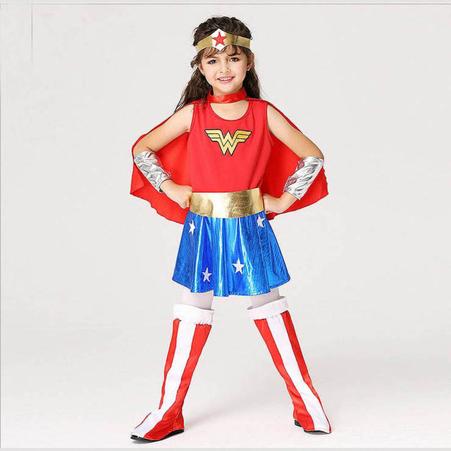 KTLPARTY Super Fille Dames enfants kid Wonder Woman Costume Déguisements  Halloween customes bleu femmes supergirl costumes 8346a9b41c72