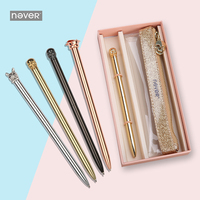 Never Luxury Metal Gift Stationeries Set 0.7mm Ball Pen And Pencil Topper Transparent Pencil Case Stationary Set Gift Stationery