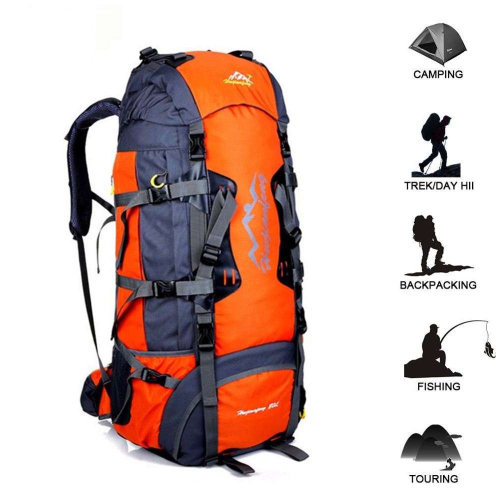 80L Waterproof Travel Hiking Backpack Sports Bag with Rain Cover Outdoor Climbing Bag Camping Mountaineering Trekking
