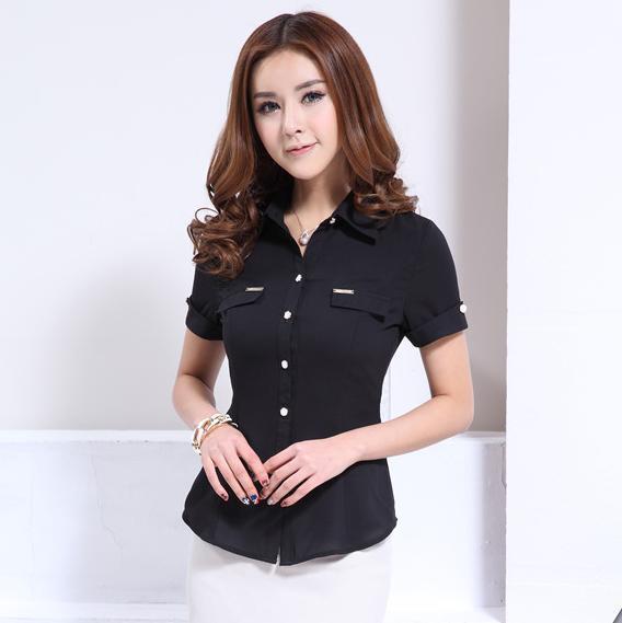 Nuevo 2015 verano moda de la camisa negro mujer blusas de