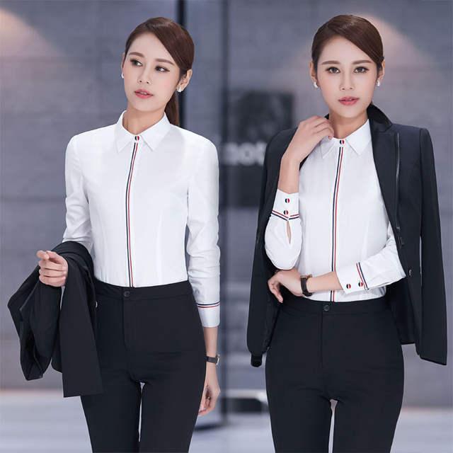 Long Sleeve Business Suits Beauty Salon Ladies Office Dress Outfits Plus  Size Elegant Black Pantsuits Skirt 44be65859b73