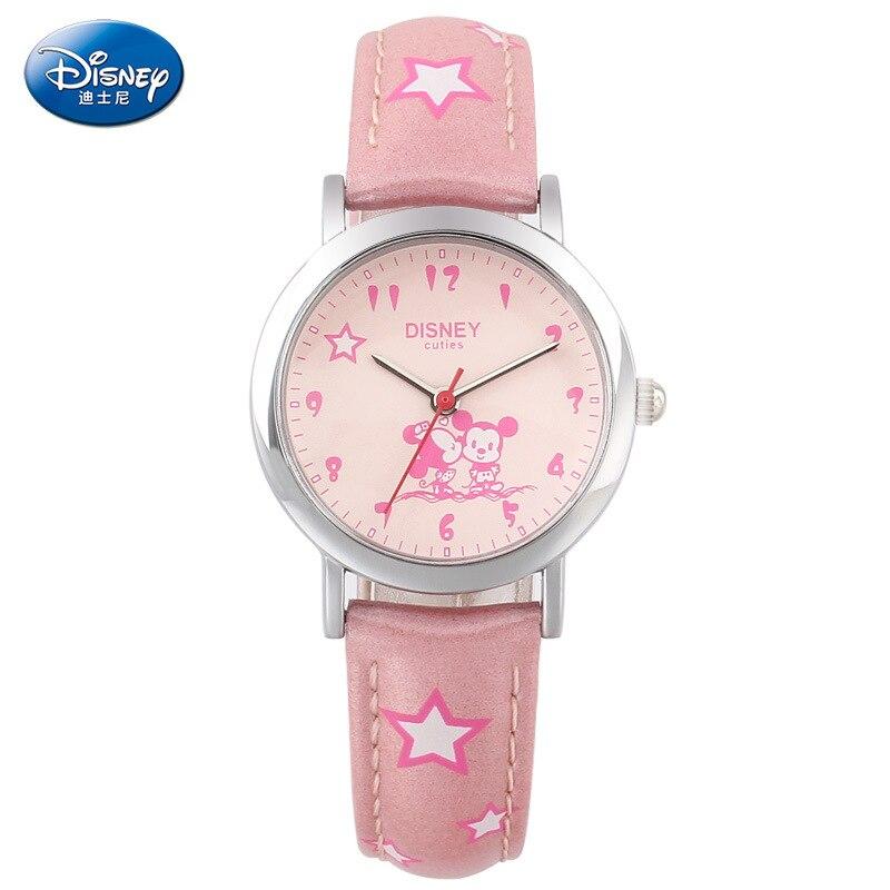 DISNEY children watches quartz kids girls clocks cartoon leather Mickey Minnie mouse waterproof student wristwatches DC-54127
