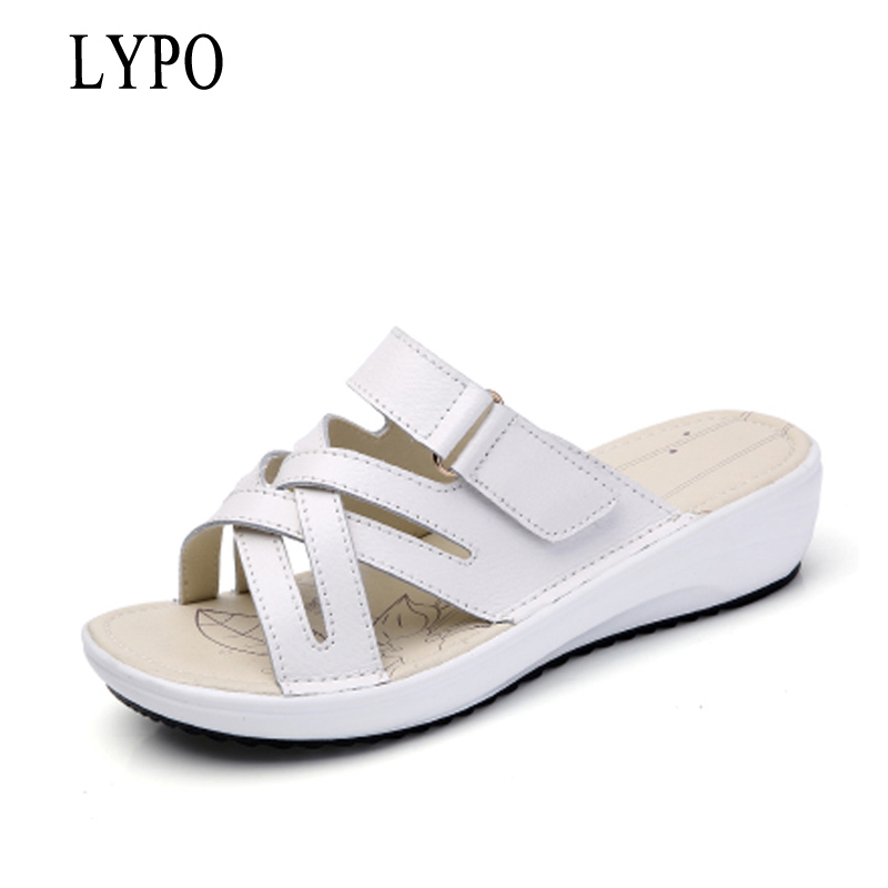 LYPO Women Slippers Shoes Leather flat Sandals Low Heel Wedges Summer Women Open Toe Platform Sandalias ladies gladiator sandals 2017 summer shoes woman platform sandals women soft leather casual open toe gladiator wedges women shoes zapatos mujer