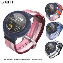 LPWHH New Nylon Watch Accessories Strap For Amazfit Huami 3 Smart Band Pin Buckle Blue Black Orange Canvas Watchband