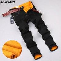 B0716 Autumn Winter Black Warm Jeans Men Brand Pants Slim Fit Flocking Soft Men S Golden