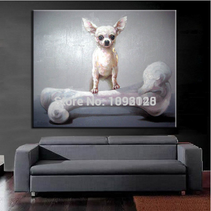 Home Decor Pop Art Lovely Animal Oil Painting On Canvas Dog Picture Which Is Called I Love Bone Instrested Handcraft Decorate