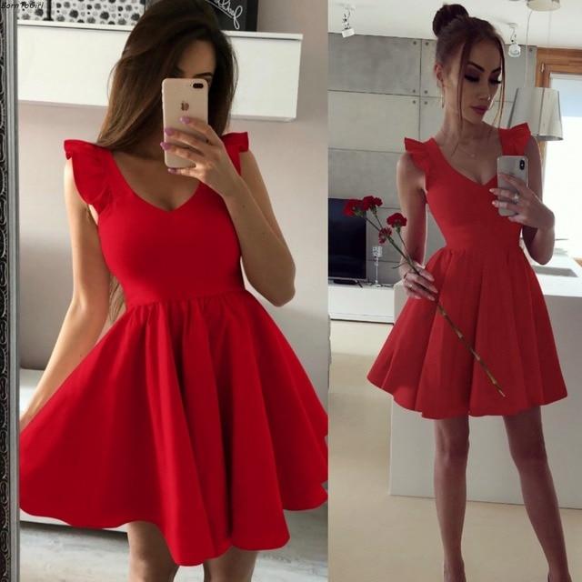 3a9bb76657ad BornToGirl Spring Summer Women Sexy V Neck Ruffles Dress female Black Khaki  Green Red Dress robe femme ete 2019