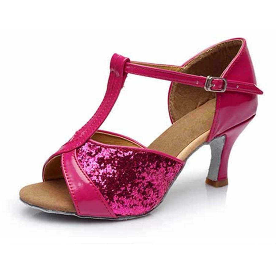 Free Shipping Hot Sale Rose Red Latin Dance Shoes Woman Ballroom Salsa Shoes Zapatos De Baile Latino Mujer