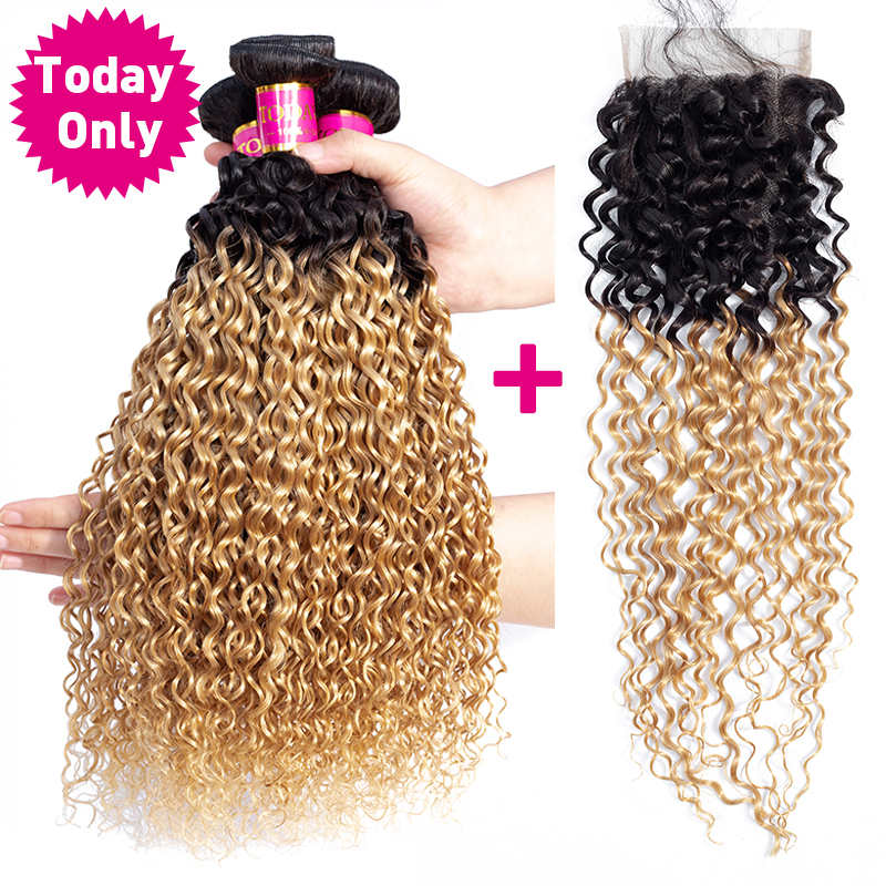 TODAYONLY Brazilian Kinky Curly Hair Bundles With Closure Blonde Bundles With Closure Ombre Human Hair Bundles With Closure Remy-in 3/4 Bundles with Closure from Hair Extensions & Wigs    2