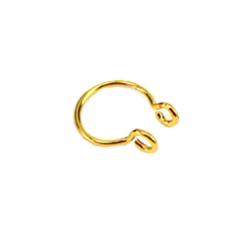 1 adet U şekilli sahte burun yüzük Hoop Septum yüzük paslanmaz çelik burun Piercing sahte Piercing Oreja Piercing takı