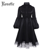 Rosetic Gothic Vintage Dress Women Summer Black Mesh Lace A-Line Full Fashion Goth Dresses Elegant Retro Young Gothics Dresses   все цены
