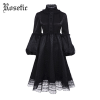 Rosetic Gothic Vintage Dress Women Autumn Black Mesh Lace A Line Fashion Lolita Lantern Sleeve Princess Preppy Retro Goth Dress