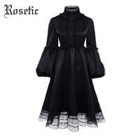 Rosetic Gothic Vintage Dress Women Autumn Black Mesh Lace A Line Fashion Lolita Lantern Sleeve Princess Preppy Retro Goth Dress