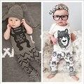 Moda de Verão da Roupa Do Bebê Define 2 PC Ternos Meninas Monstros Define de Manga Curta T-Shirt + Calças de Algodão Infantil meninos Roupas de Marca
