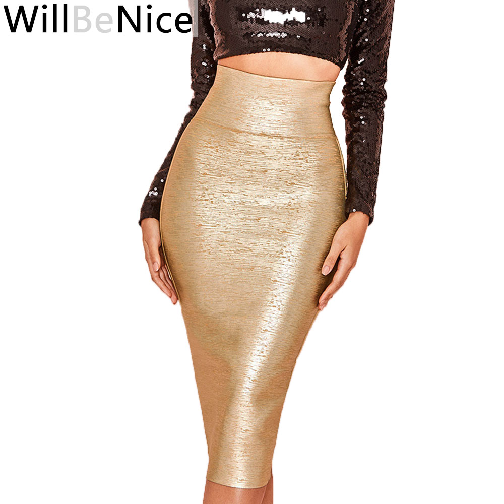 WillBeNice Gold 2019 New Arrival High Waist Sexy Lady Mid-Calf Bandage Pencil Skirt