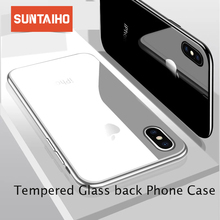 Suntaiho Tempered Glass Case for iPhone X Back Cover Glass Case for iPhone 7 7 Plus Plating Edge Phone Case for iPhone 8 6 Plus