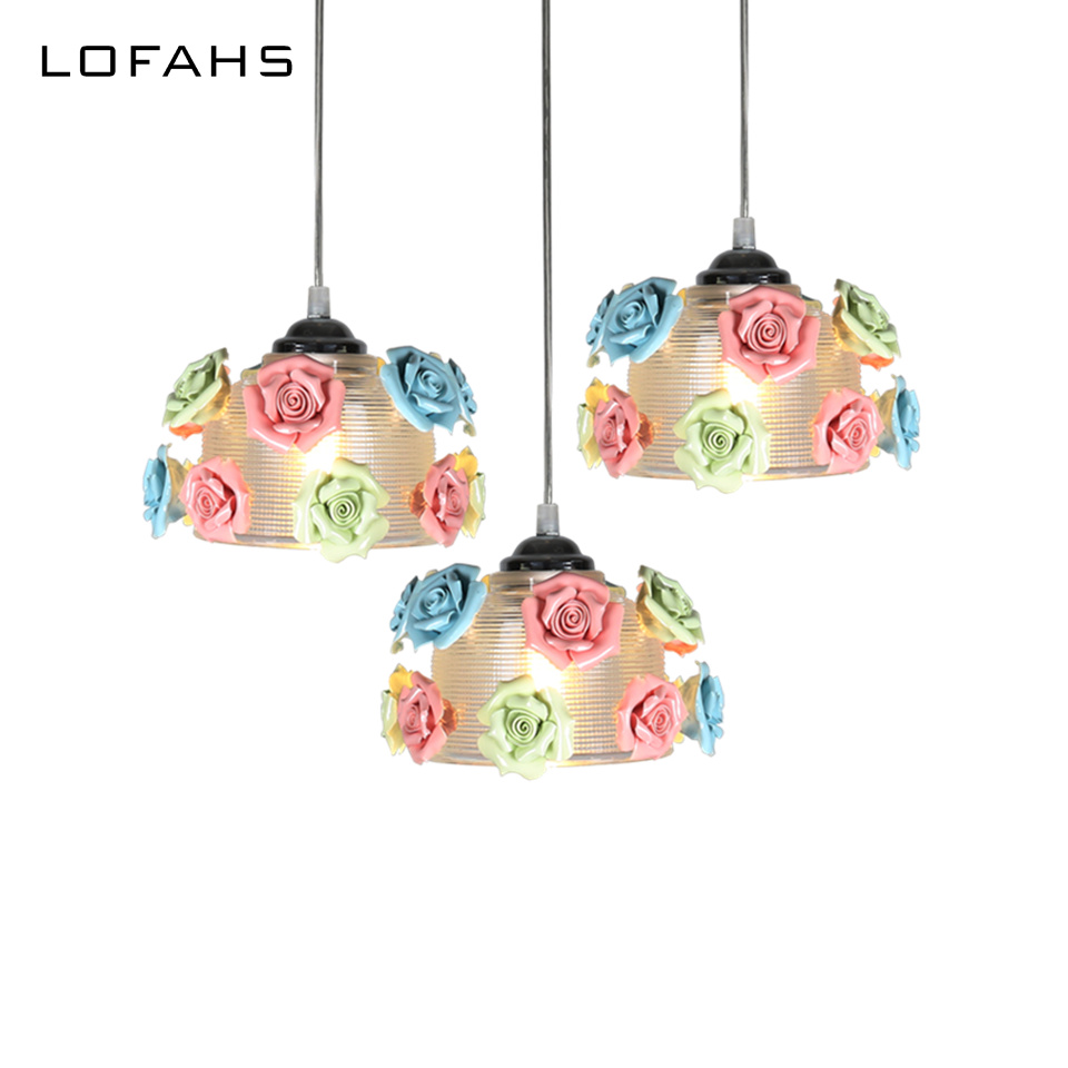 Modern Pendant Lights Exquisite glass with ceramic flowers creative hanging lamps bar living room dining room restaurant creative design modern led colorful glass stone pendant lights lamps for dining room living room bar glass lights