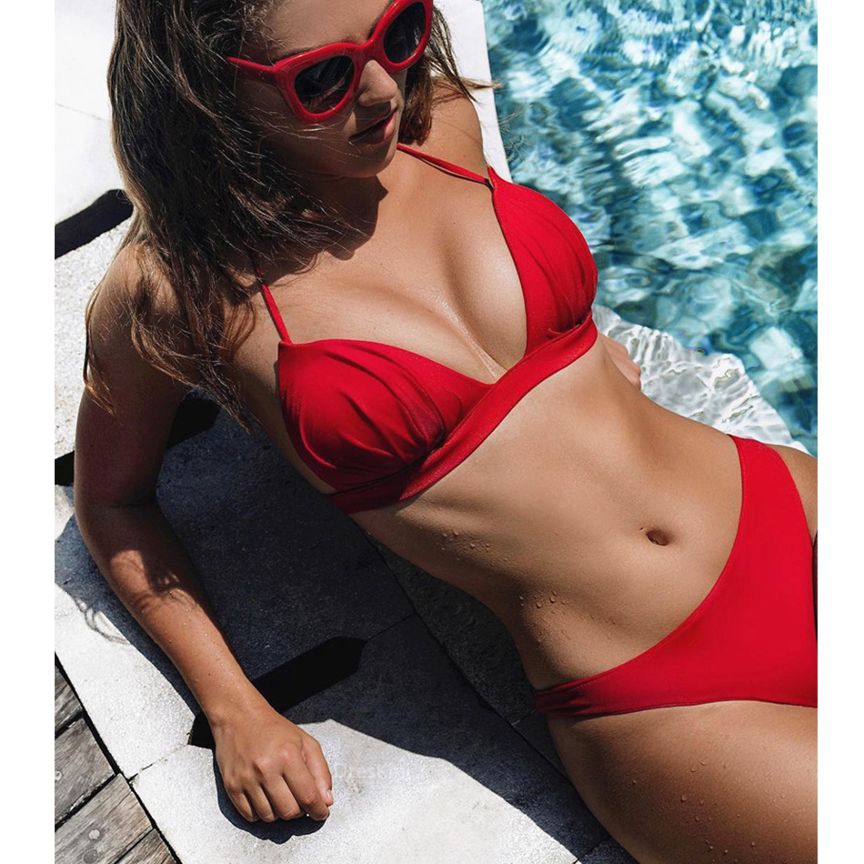 2019 Sexy Solid Bikinis Women Swimsuit Halter Push Up Bikini Swimwear Fold Bikini Set Brazilian Bathing Suits Summer Beach Wear
