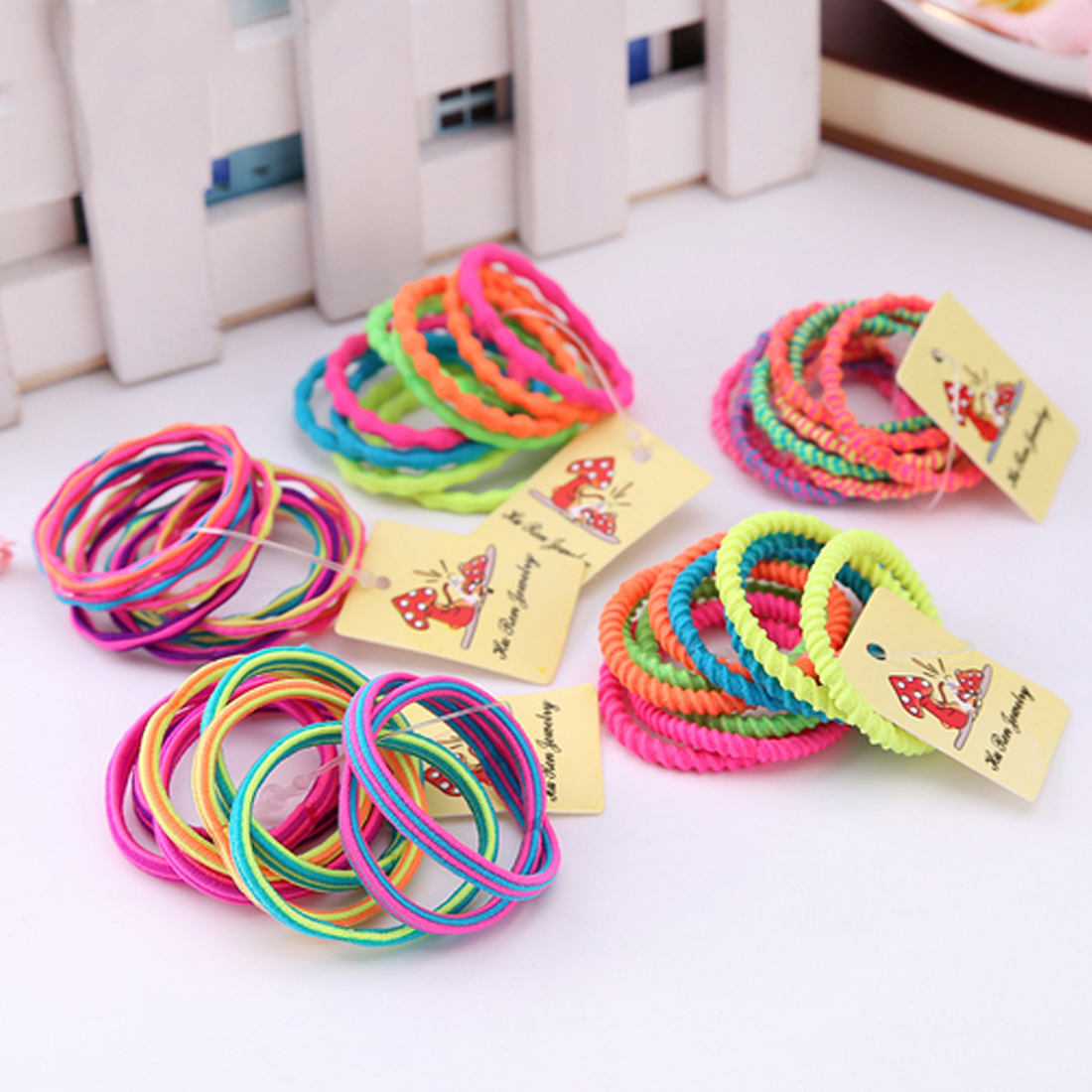 10PCS/Lot Girls Colorful Elastic Hair Band Lovely Hair Ropes Ponytail Holder Scrunchie Gum   Headwear   Hair Accessories