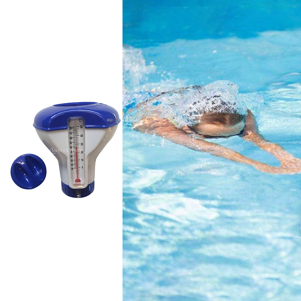 Swimming Pool Floating Chlorine Dispenser 5 Inch With Thermometer Durable ABS Plastic