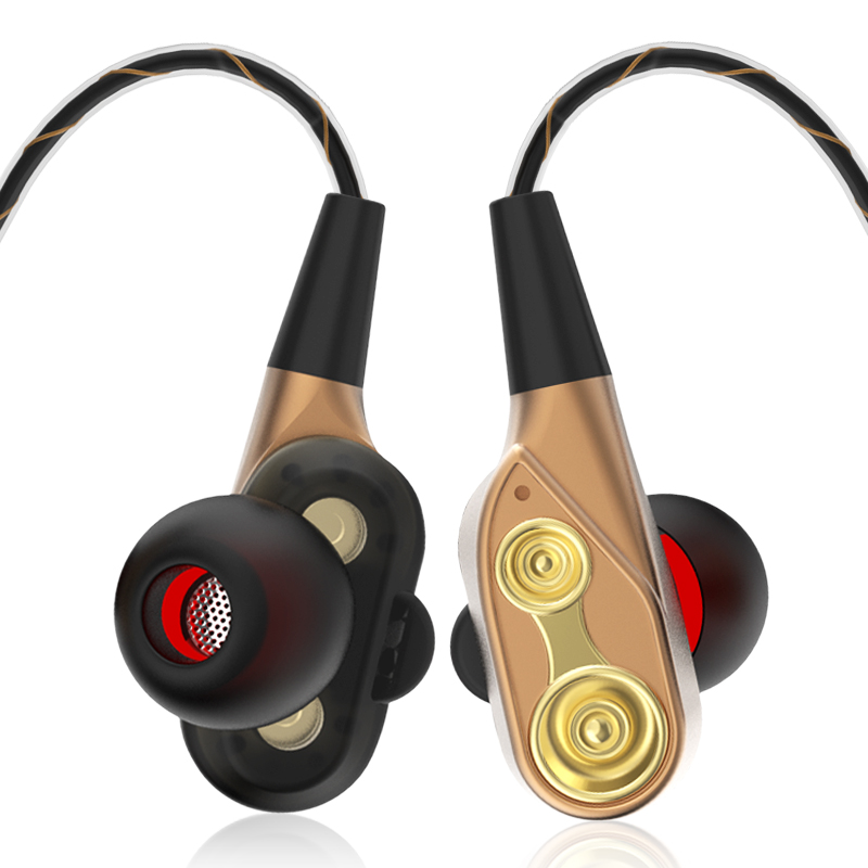 In-Ear Wired Earbuds High Bass Dual Drive Stereo 3.5mm Earphone Microphone For Mobile Phone Sport With storage case