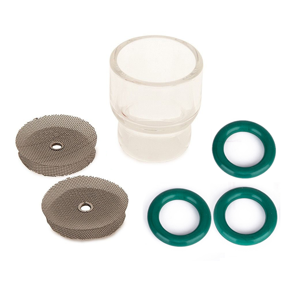7pcs/set 1pc #12 Pyrex Tig Welding Cup For WP-9 & WP-17 Gas Lens 1.6mm/2.4mm 2pcs Stainless Steel Filters 3pcs O-rings
