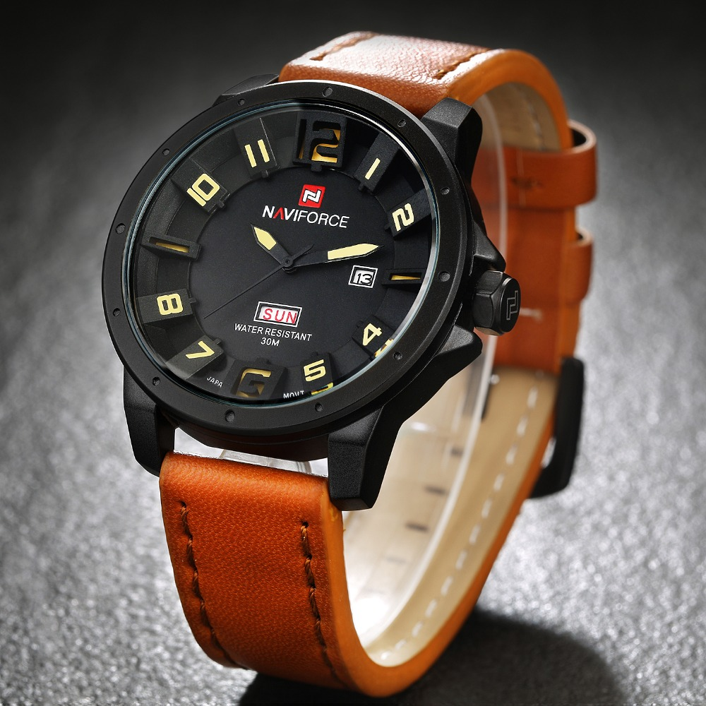Naviforce Mens Watches Top Brand Luxury Fashion 3D Dial Sports Leather Men s wrist watches Relogio